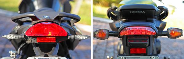 traseira lanterna BMW F 800 R x Honda CB 600F Hornet